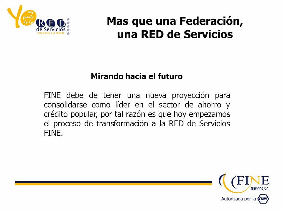 Mas que una Federación, una RED de Servicios Mirando hacia el futuro FINE debe de tener una nueva proyección para consolidarse como líder en el sector de ahorro y crédito popular, por tal razón es que hoy empezamos el proceso de transformación a la RED de Servicios FINE.