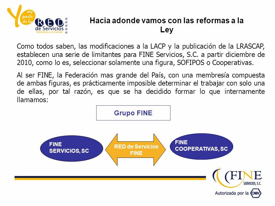 Como todos saben, las modificaciones a la LACP y la publicación de la LRASCAP, establecen una serie de limitantes para FINE Servicios, S.C. a partir d