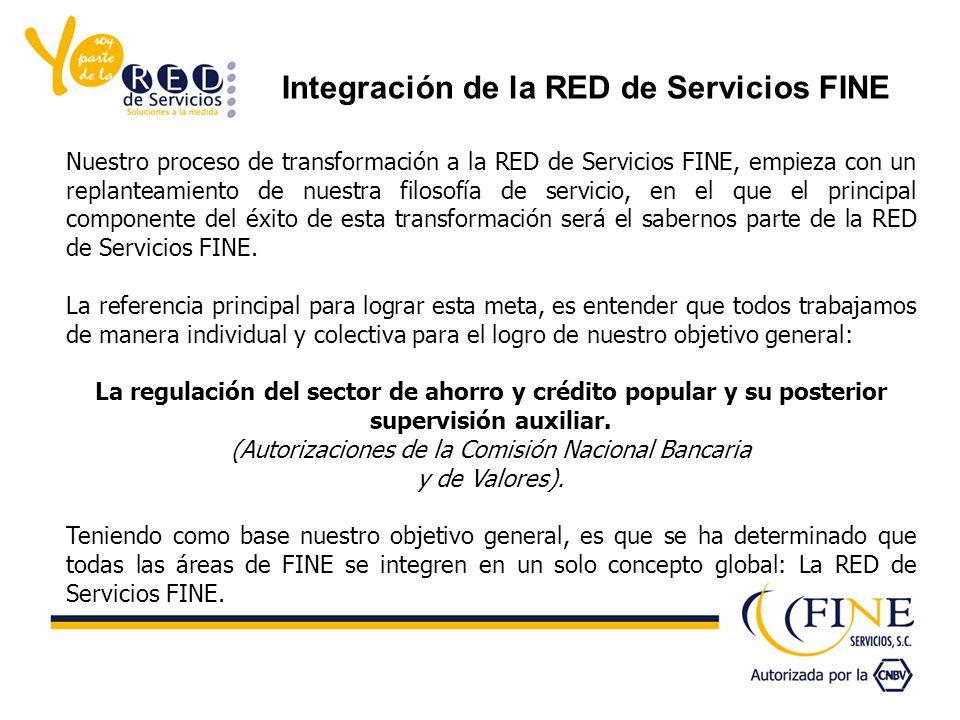 Nuestro proceso de transformación a la RED de Servicios FINE, empieza con un replanteamiento de nuestra filosofía de servicio, en el que el principal componente del éxito de esta transformación será el sabernos parte de la RED de Servicios FINE.