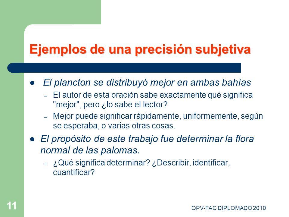 OPV-FAC DIPLOMADO 2010 11 Ejemplos de una precisión subjetiva El plancton se distribuyó mejor en ambas bahías – El autor de esta oración sabe exactame