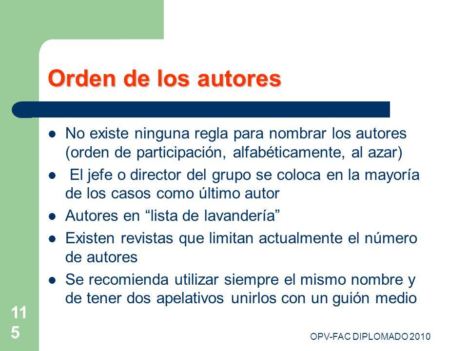OPV-FAC DIPLOMADO 2010 115 Orden de los autores No existe ninguna regla para nombrar los autores (orden de participación, alfabéticamente, al azar) El