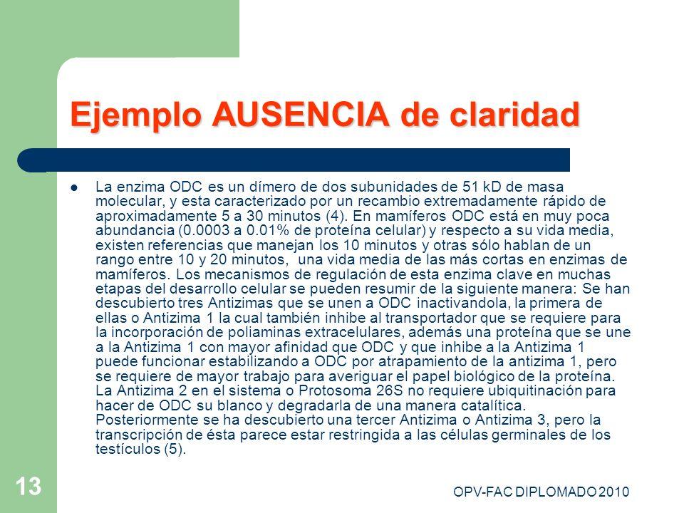 OPV-FAC DIPLOMADO 2010 13 Ejemplo AUSENCIA de claridad La enzima ODC es un dímero de dos subunidades de 51 kD de masa molecular, y esta caracterizado