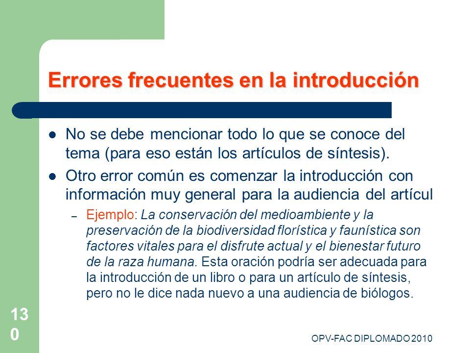 OPV-FAC DIPLOMADO 2010 130 Errores frecuentes en la introducción No se debe mencionar todo lo que se conoce del tema (para eso están los artículos de