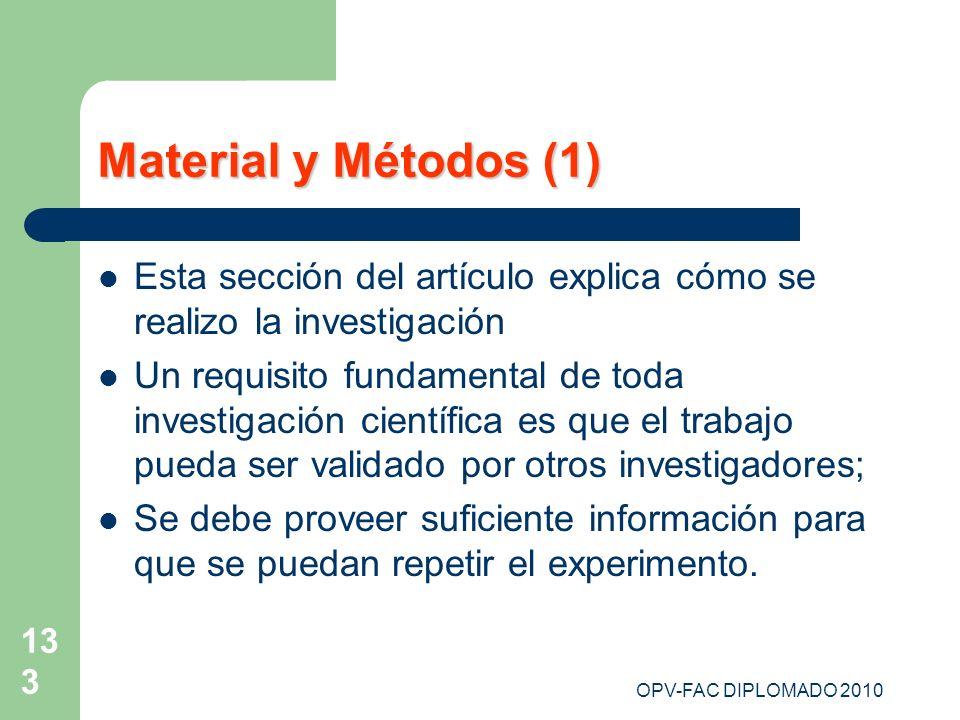 OPV-FAC DIPLOMADO 2010 133 Material y Métodos (1) Esta sección del artículo explica cómo se realizo la investigación Un requisito fundamental de toda