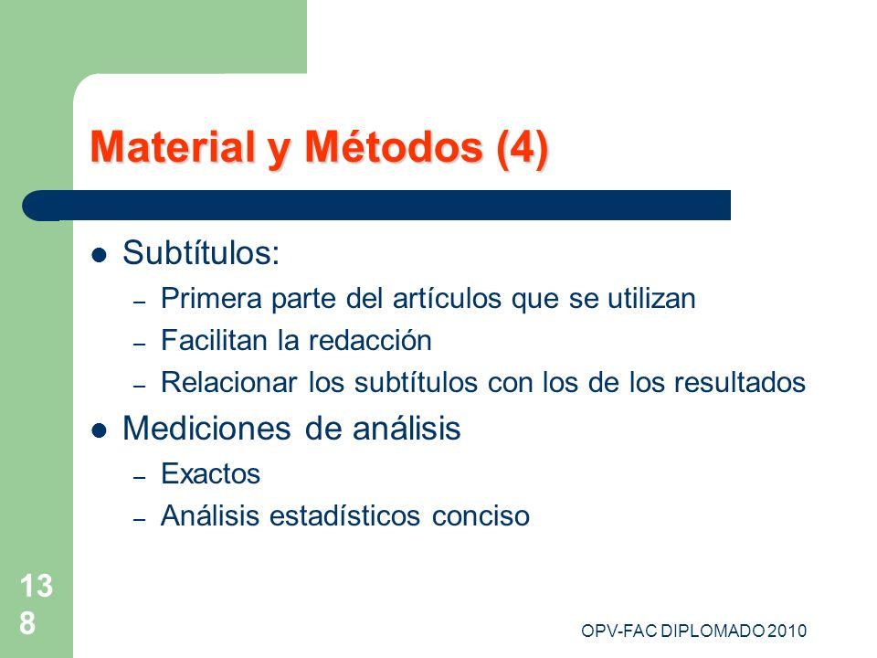 OPV-FAC DIPLOMADO 2010 138 Material y Métodos (4) Subtítulos: – Primera parte del artículos que se utilizan – Facilitan la redacción – Relacionar los