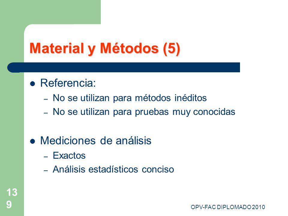 OPV-FAC DIPLOMADO 2010 139 Material y Métodos (5) Referencia: – No se utilizan para métodos inéditos – No se utilizan para pruebas muy conocidas Medic
