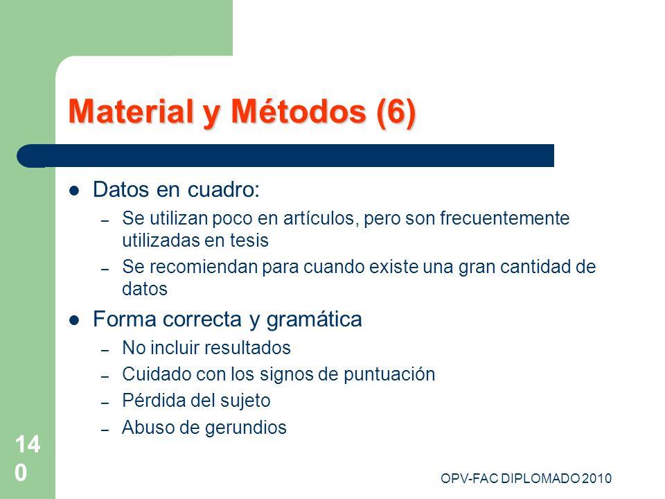 OPV-FAC DIPLOMADO 2010 140 Material y Métodos (6) Datos en cuadro: – Se utilizan poco en artículos, pero son frecuentemente utilizadas en tesis – Se r