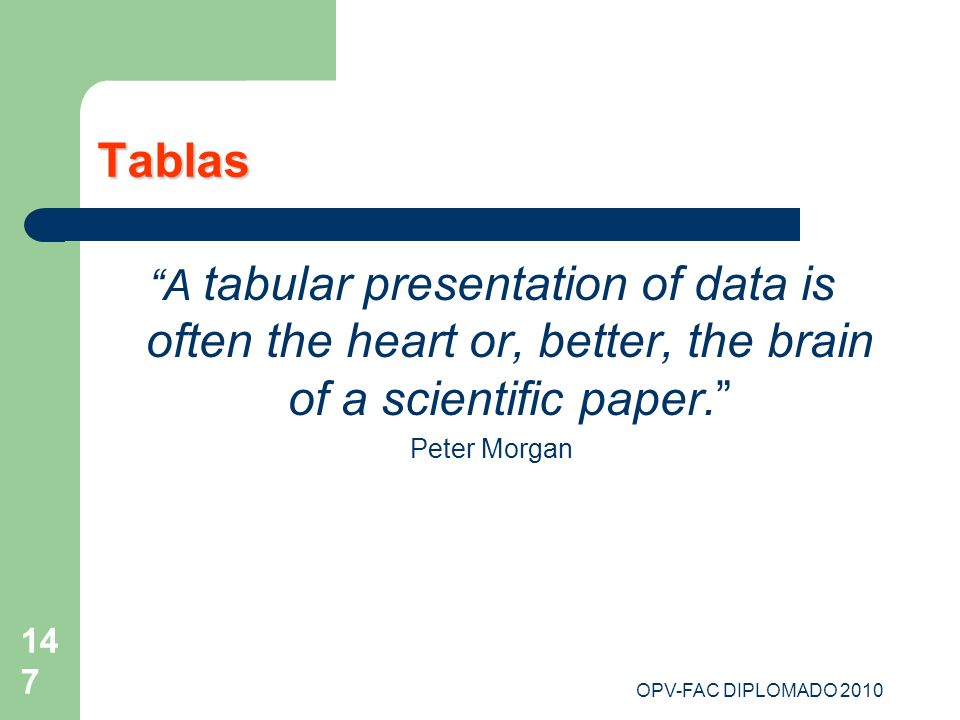 OPV-FAC DIPLOMADO 2010 147 Tablas A tabular presentation of data is often the heart or, better, the brain of a scientific paper. Peter Morgan