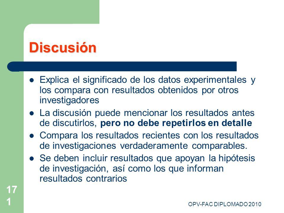 171 Discusión Explica el significado de los datos experimentales y los compara con resultados obtenidos por otros investigadores La discusión puede me