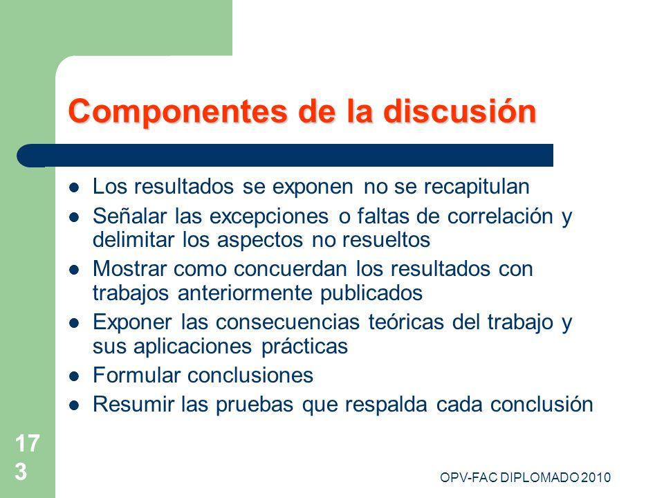 OPV-FAC DIPLOMADO 2010 173 Componentes de la discusión Los resultados se exponen no se recapitulan Señalar las excepciones o faltas de correlación y d