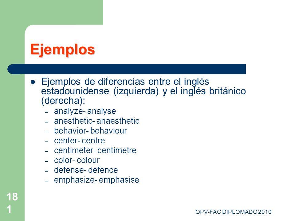 OPV-FAC DIPLOMADO 2010 181 Ejemplos Ejemplos de diferencias entre el inglés estadounidense (izquierda) y el inglés británico (derecha): – analyze- ana