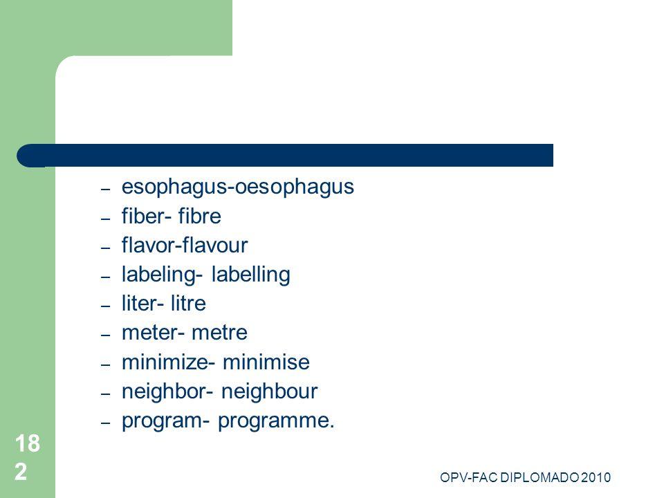 OPV-FAC DIPLOMADO 2010 182 – esophagus-oesophagus – fiber- fibre – flavor-flavour – labeling- labelling – liter- litre – meter- metre – minimize- mini