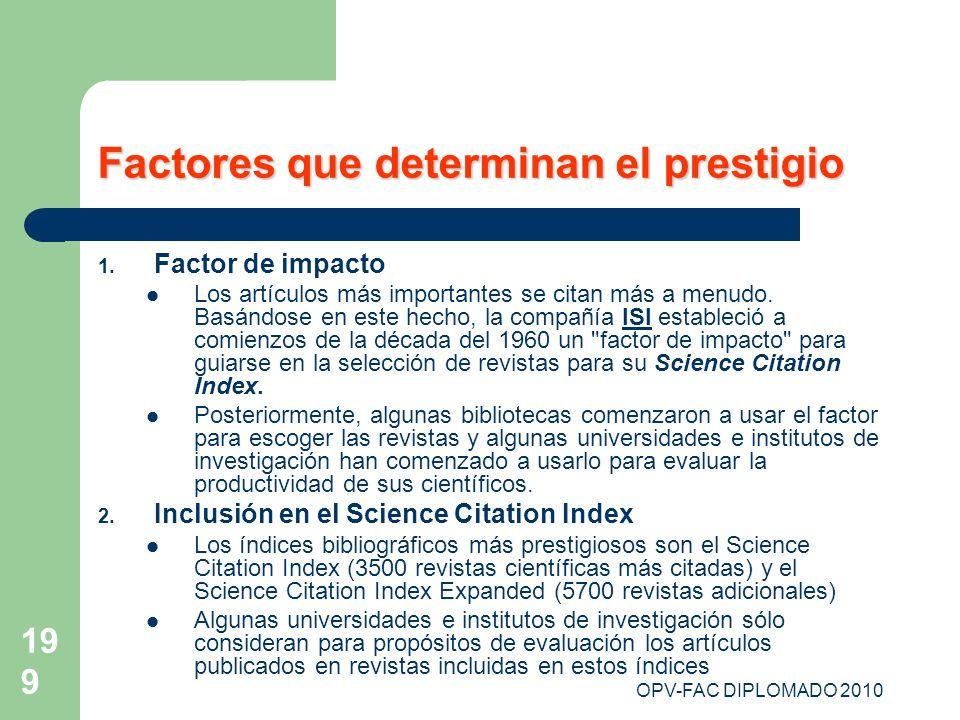 OPV-FAC DIPLOMADO 2010 199 Factores que determinan el prestigio 1. Factor de impacto Los artículos más importantes se citan más a menudo. Basándose en