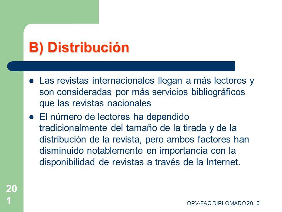 OPV-FAC DIPLOMADO 2010 201 B) Distribución Las revistas internacionales llegan a más lectores y son consideradas por más servicios bibliográficos que