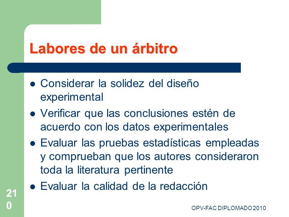 OPV-FAC DIPLOMADO 2010 210 Labores de un árbitro Considerar la solidez del diseño experimental Verificar que las conclusiones estén de acuerdo con los