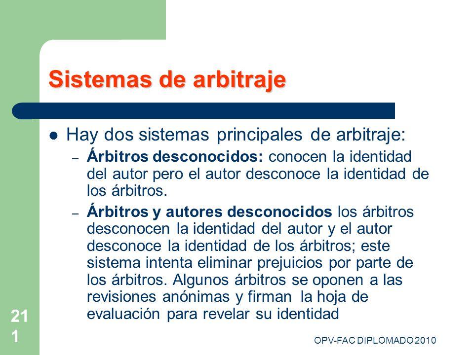 OPV-FAC DIPLOMADO 2010 211 Sistemas de arbitraje Hay dos sistemas principales de arbitraje: – Árbitros desconocidos: conocen la identidad del autor pe
