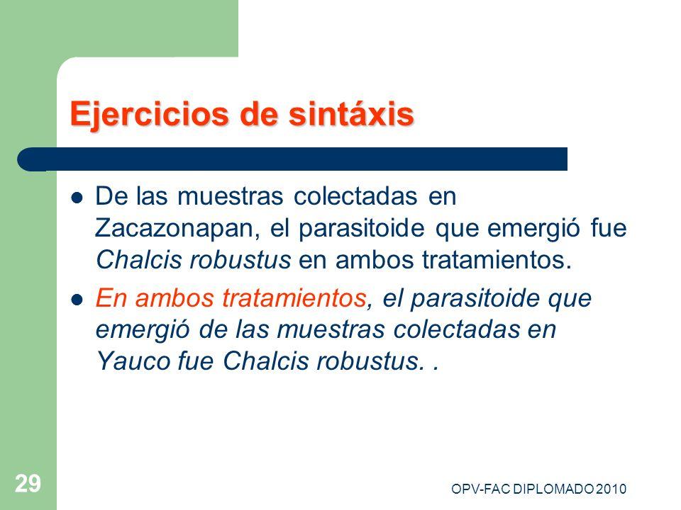 OPV-FAC DIPLOMADO 2010 29 Ejercicios de sintáxis De las muestras colectadas en Zacazonapan, el parasitoide que emergió fue Chalcis robustus en ambos t