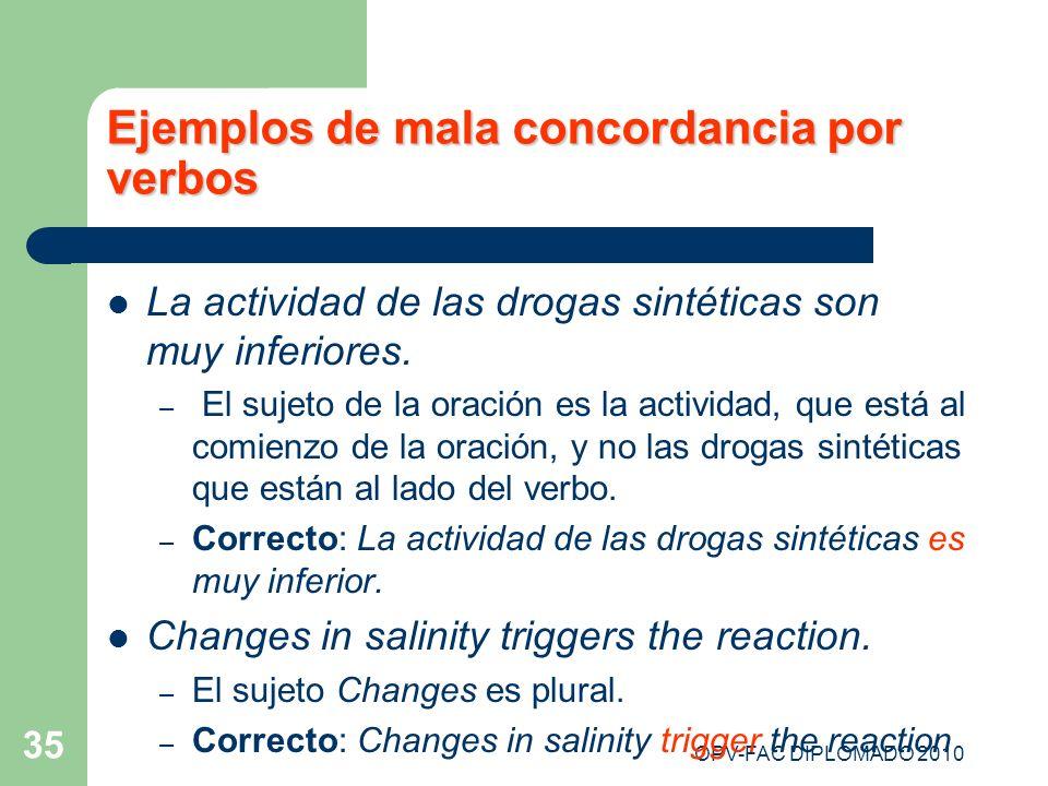 OPV-FAC DIPLOMADO 2010 35 Ejemplos de mala concordancia por verbos La actividad de las drogas sintéticas son muy inferiores. – El sujeto de la oración