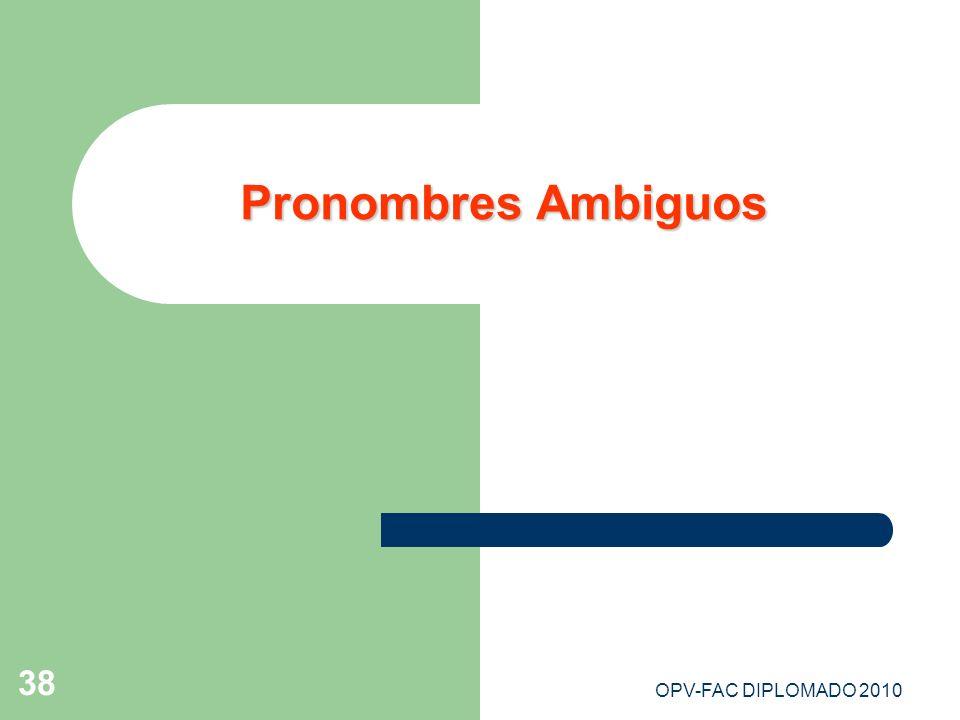 OPV-FAC DIPLOMADO 2010 38 Pronombres Ambiguos