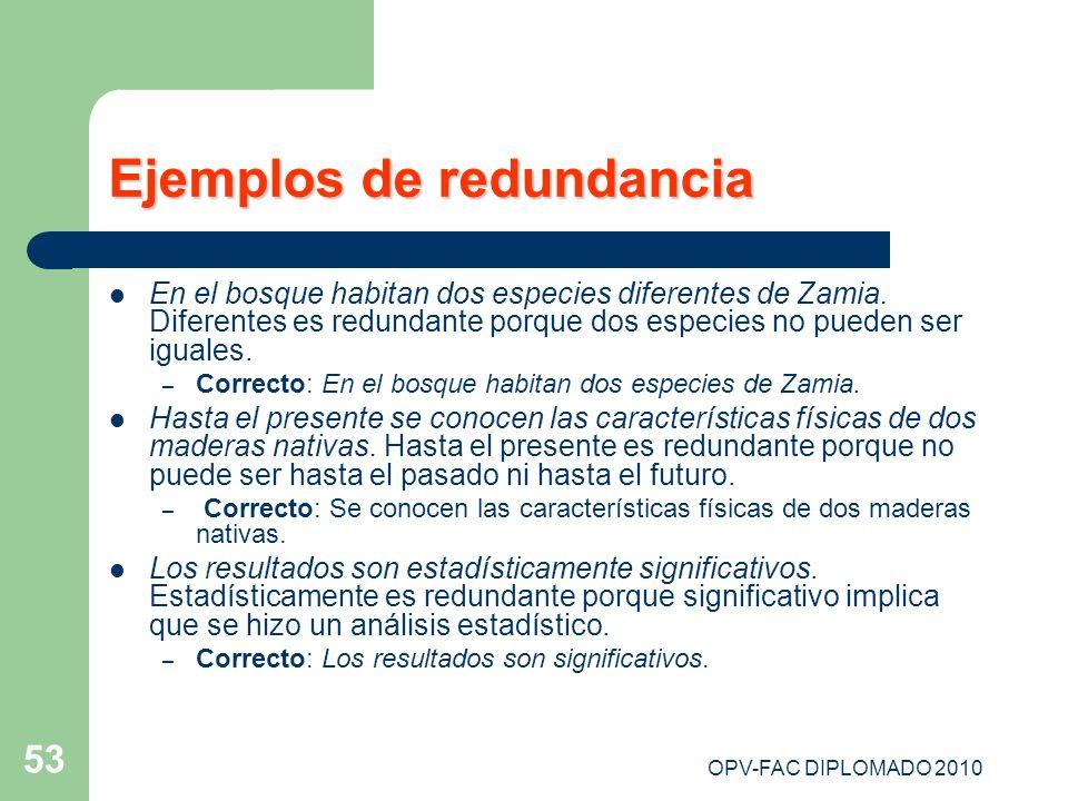 OPV-FAC DIPLOMADO 2010 53 Ejemplos de redundancia En el bosque habitan dos especies diferentes de Zamia. Diferentes es redundante porque dos especies