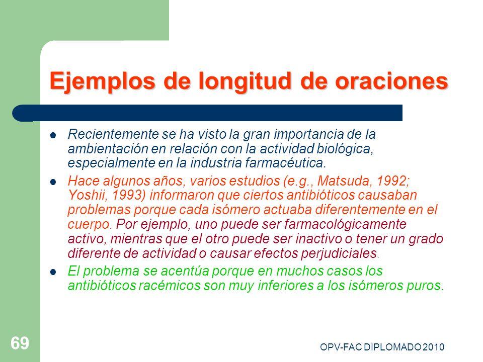 OPV-FAC DIPLOMADO 2010 69 Ejemplos de longitud de oraciones Recientemente se ha visto la gran importancia de la ambientación en relación con la activi