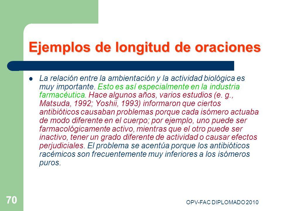 OPV-FAC DIPLOMADO 2010 70 Ejemplos de longitud de oraciones La relación entre la ambientación y la actividad biológica es muy importante. Esto es así