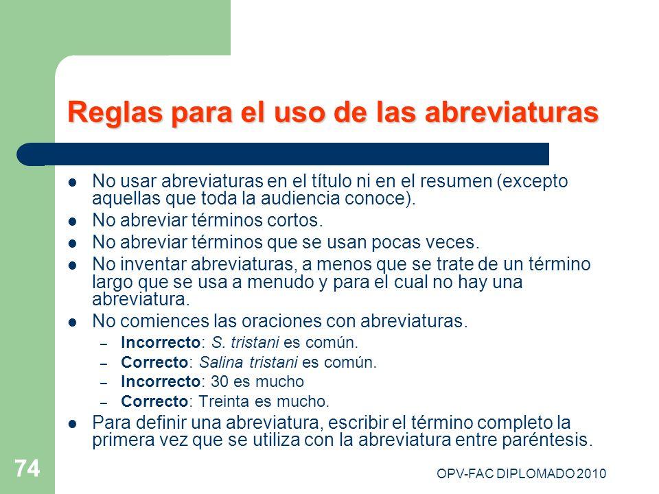 OPV-FAC DIPLOMADO 2010 74 Reglas para el uso de las abreviaturas No usar abreviaturas en el título ni en el resumen (excepto aquellas que toda la audi