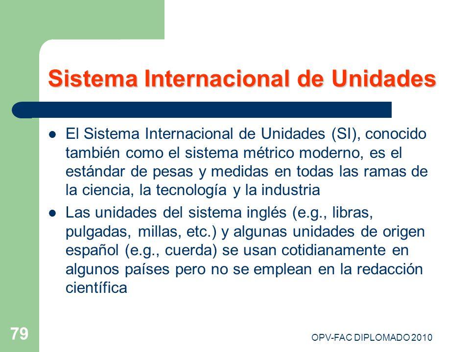 OPV-FAC DIPLOMADO 2010 79 Sistema Internacional de Unidades El Sistema Internacional de Unidades (SI), conocido también como el sistema métrico modern