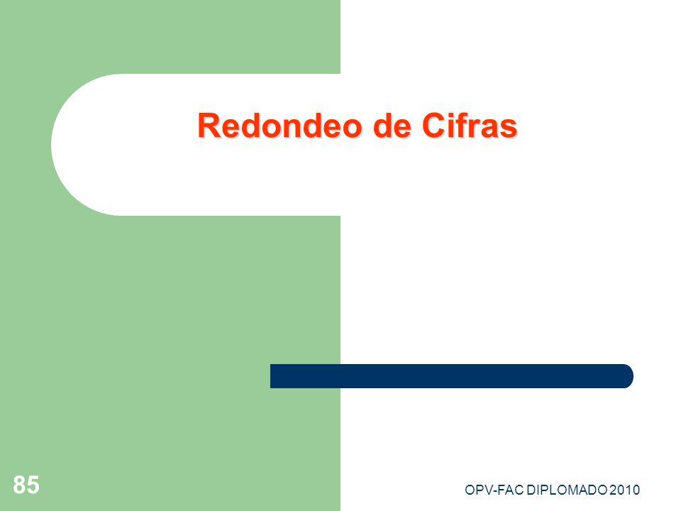 OPV-FAC DIPLOMADO 2010 85 Redondeo de Cifras