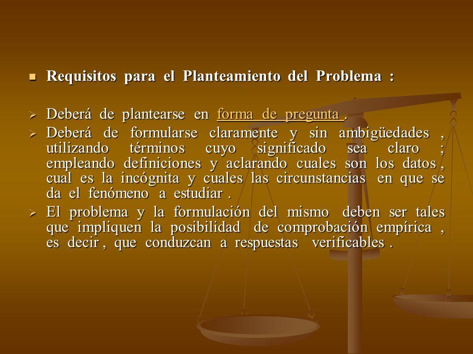 Requisitos para el Planteamiento del Problema : Requisitos para el Planteamiento del Problema : Deberá de plantearse en forma de pregunta. Deberá de p