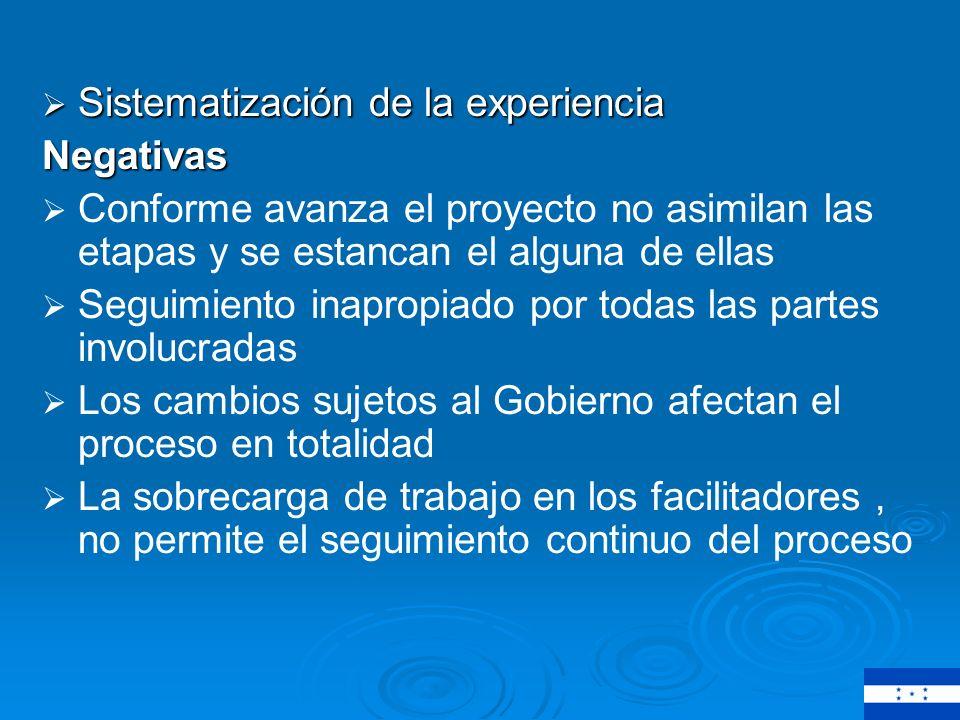 Recomendaciones Seguimiento mas completo para lograr la sostenibilidad en los proyectos Implementar la metodología en comunidades donde se este seguro que se va iniciar un proyecto de agua y saneamiento.