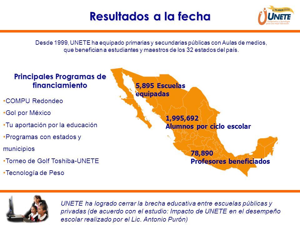 Resultados a la fecha Desde 1999, UNETE ha equipado primarias y secundarias públicas con Aulas de medios, que benefician a estudiantes y maestros de l