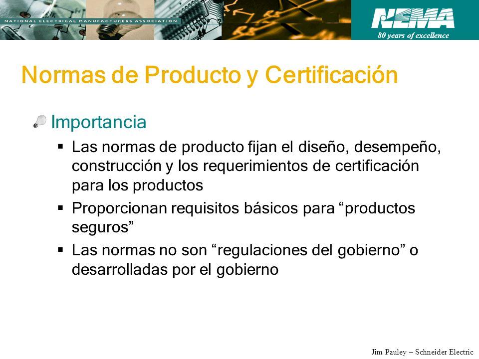 80 years of excellence Jim Pauley – Schneider Electric Normas de Producto y Certificación Importancia Las normas de producto fijan el diseño, desempeñ