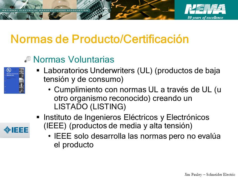 80 years of excellence Jim Pauley – Schneider Electric Normas de Producto/Certificación Normas Voluntarias Laboratorios Underwriters (UL) (productos d