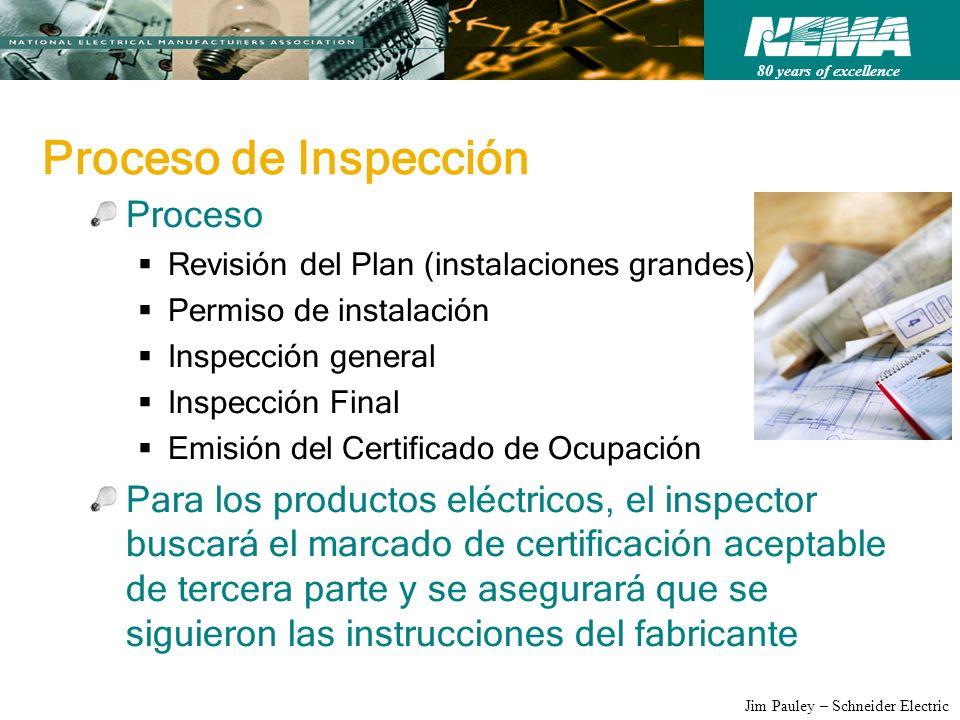 80 years of excellence Jim Pauley – Schneider Electric Proceso de Inspección Proceso Revisión del Plan (instalaciones grandes) Permiso de instalación