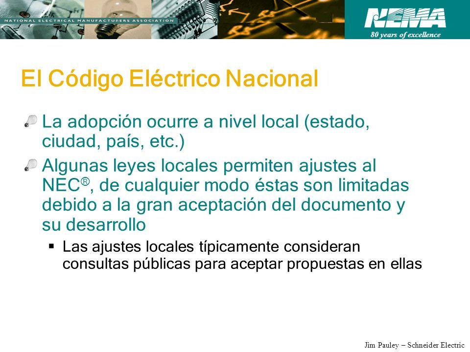 80 years of excellence Jim Pauley – Schneider Electric El Código Eléctrico Nacional La adopción ocurre a nivel local (estado, ciudad, país, etc.) Algu
