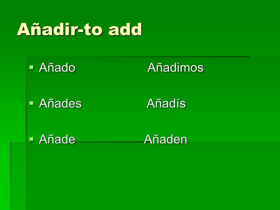Añadir-to add Añado Añadimos Añado Añadimos Añades Añadís Añades Añadís Añade Añaden Añade Añaden