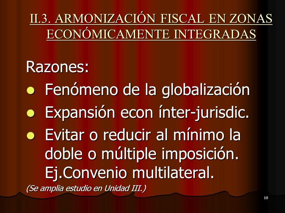 10 II.3. ARMONIZACIÓN FISCAL EN ZONAS ECONÓMICAMENTE INTEGRADAS Razones: Fenómeno de la globalización Fenómeno de la globalización Expansión econ ínte