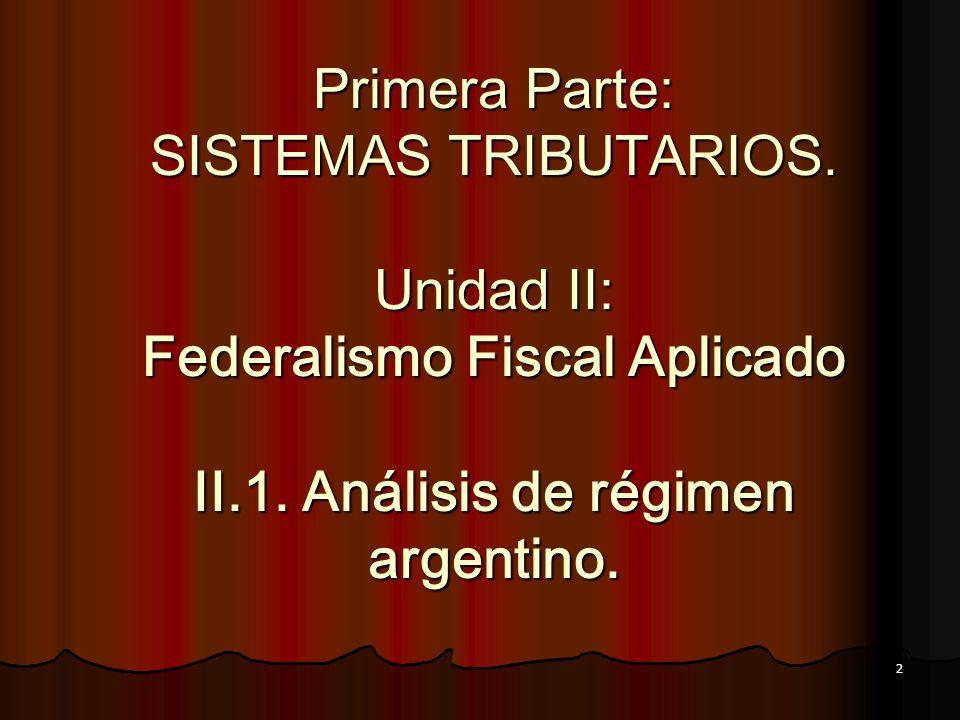 2 Primera Parte: SISTEMAS TRIBUTARIOS. Unidad II: Federalismo Fiscal Aplicado II.1. Análisis de régimen argentino.