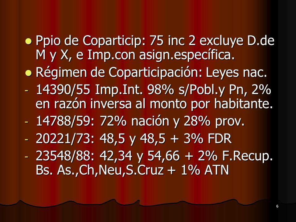 6 Ppio de Coparticip: 75 inc 2 excluye D.de M y X, e Imp.con asign.específica. Ppio de Coparticip: 75 inc 2 excluye D.de M y X, e Imp.con asign.especí