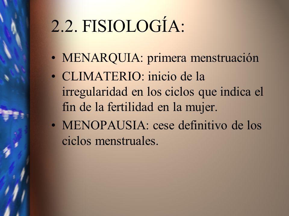 2.2. FISIOLOGÍA: MENARQUIA: primera menstruación CLIMATERIO: inicio de la irregularidad en los ciclos que indica el fin de la fertilidad en la mujer.