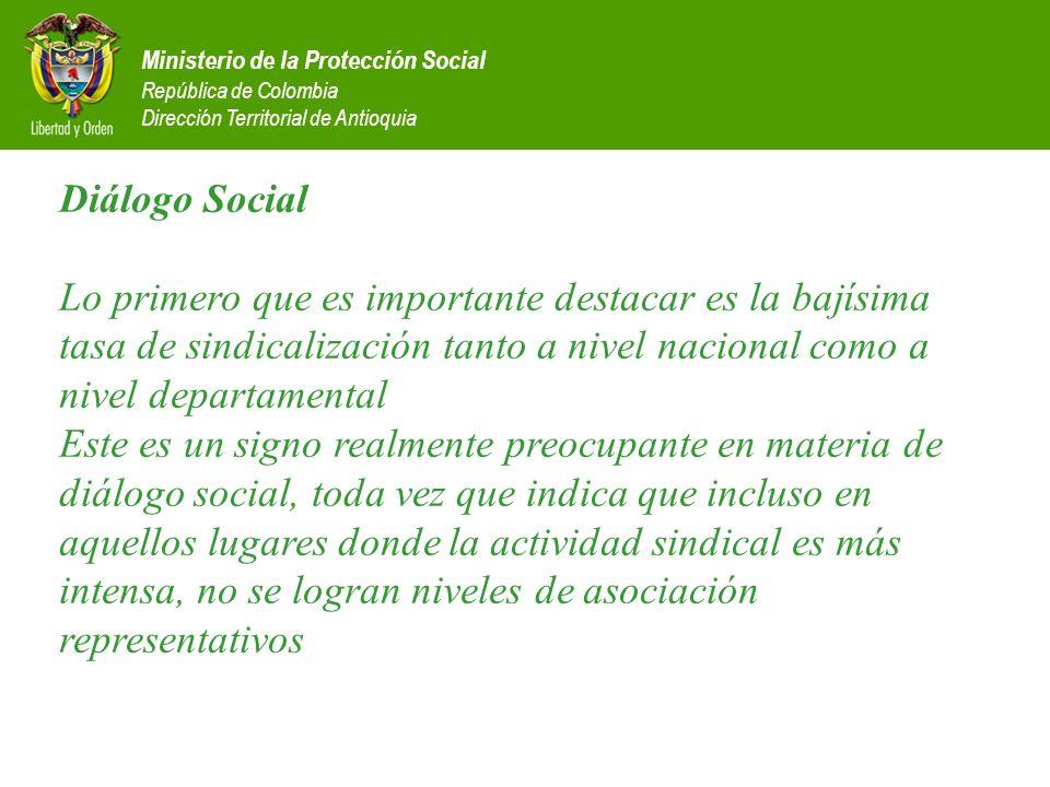 Ministerio de la Protección Social República de Colombia Dirección Territorial de Antioquia Diálogo Social Lo primero que es importante destacar es la