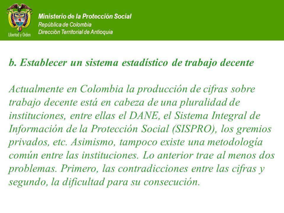 Ministerio de la Protección Social República de Colombia Dirección Territorial de Antioquia b. Establecer un sistema estadístico de trabajo decente Ac