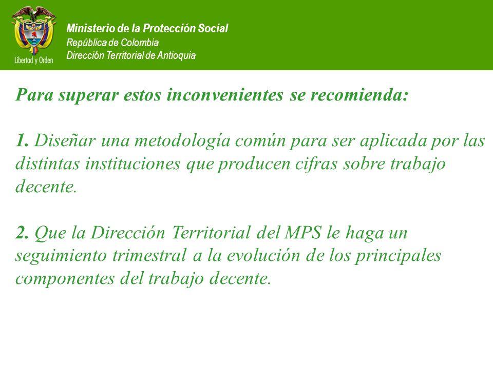Ministerio de la Protección Social República de Colombia Dirección Territorial de Antioquia Para superar estos inconvenientes se recomienda: 1. Diseña