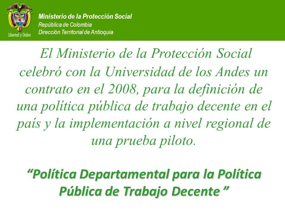 Ministerio de la Protección Social República de Colombia Dirección Territorial de Antioquia Política Departamental para la Política Pública de Trabajo