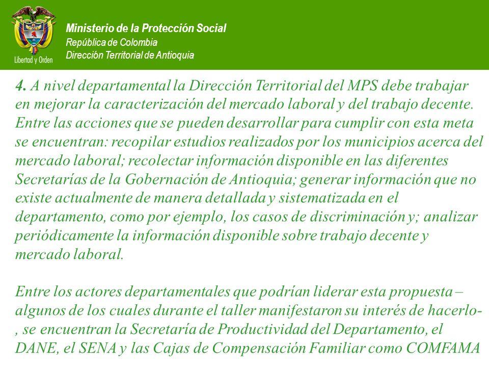 Ministerio de la Protección Social República de Colombia Dirección Territorial de Antioquia 4. A nivel departamental la Dirección Territorial del MPS