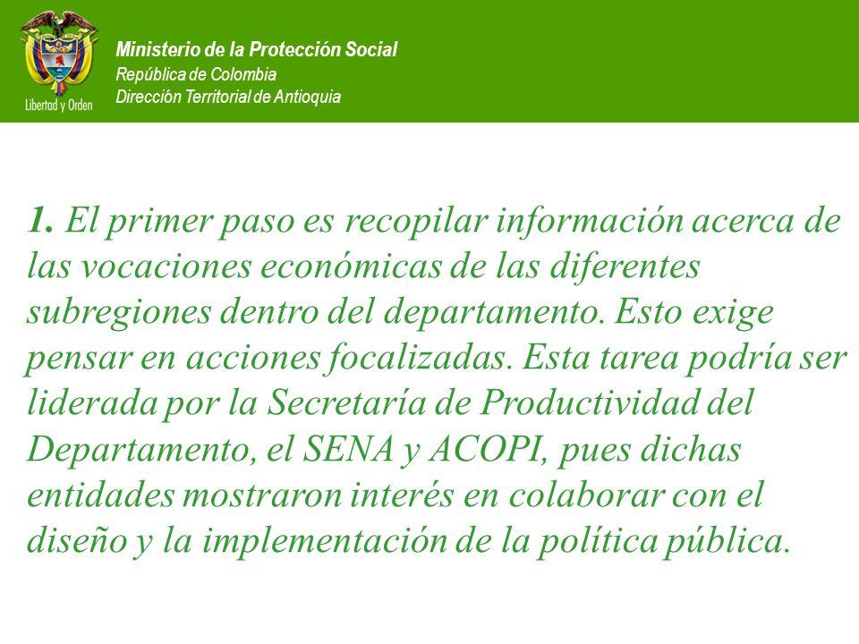 Ministerio de la Protección Social República de Colombia Dirección Territorial de Antioquia 1. El primer paso es recopilar información acerca de las v