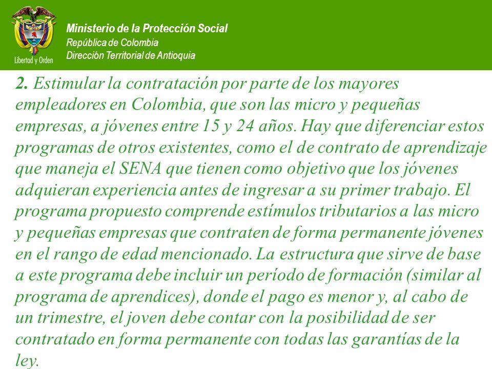 Ministerio de la Protección Social República de Colombia Dirección Territorial de Antioquia 2. Estimular la contratación por parte de los mayores empl