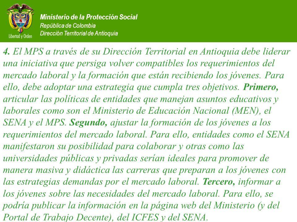 Ministerio de la Protección Social República de Colombia Dirección Territorial de Antioquia 4. El MPS a través de su Dirección Territorial en Antioqui