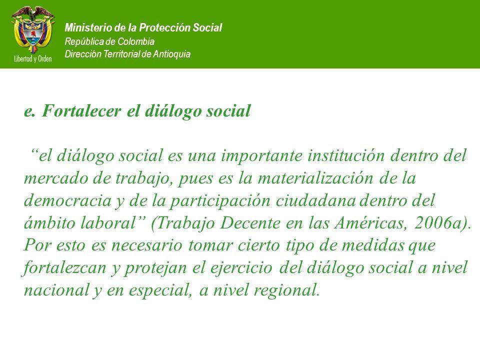 Ministerio de la Protección Social República de Colombia Dirección Territorial de Antioquia e. Fortalecer el diálogo social el diálogo social es una i